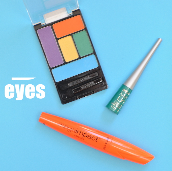 ColorIcon Eyeshadow Palette in Art in the Streets, Mega Liner Liquid Eyeliner in Turquoise and Mega Impact Mascara.