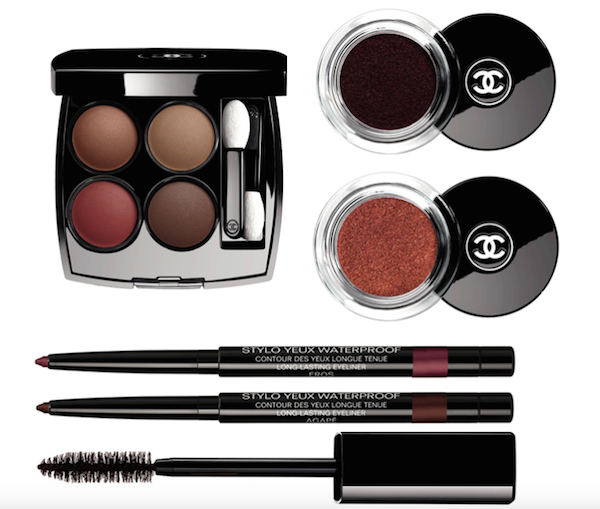 Les 4 Ombres in Caneur et Experience, R920 Illusion D'Ombre Velvet in Rouge Contraste and Rouge Brule, R560 each Le Stylo Yeux Waterproof in Eros and Agape, R450 each Dimension De Chanel Mascara in Subversif, R575