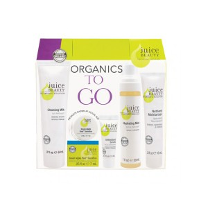 Juice Beauty Organics To Go Daily Essentials Kit, R399.95: Formulated only with organic ingredients, this kit contains the following: Cleansing Milk (60ml) Green Apple Peel (7ml) Antioxidant Serum (5ml) Hydrating Mist (30ml) Nutrient Moisturizer (15ml)