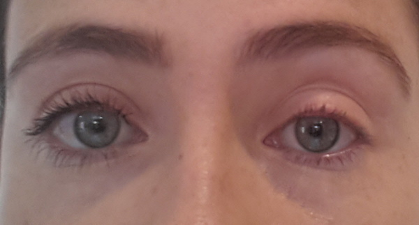 One eye with and one without Lancôme Grandiôse Mascara